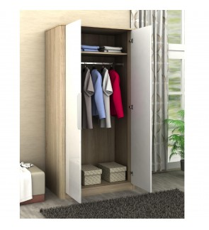 DéTrend - Rosalia 2 Doors Engineered Particle Wooden Wardrobe - 2Tone Color - Oak / Off White - Easy