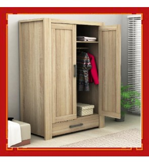 DéTrend -  Engineered Particle Wooden Wardrobe with Drawer 6084 - Spacious - Great Item for your Bedroom - Trendy & Lifestyle !! - HURRY! LIMITED TO FIRST 20SETS ONLY !!!
